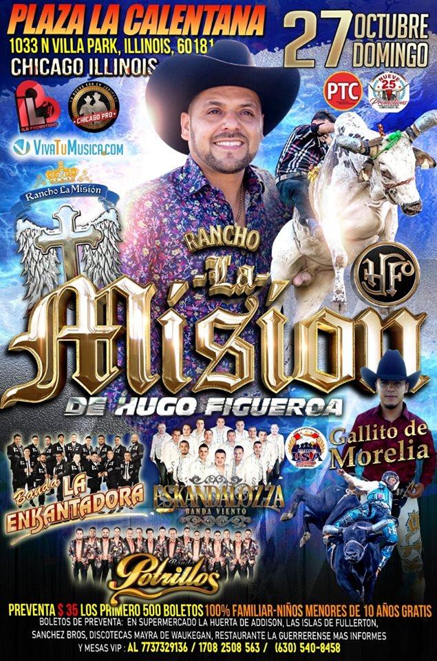 Poster for the Rancho la Mision de Hugo Figueroa Jaripeo y Baile at the Odeum Expo Center in Villa Park Illinois