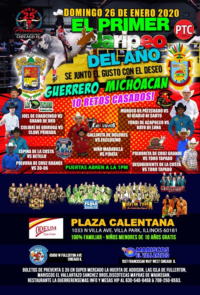 Poster for El Primer Jaripeo del Ano rodeo and dance at the Odeum Expo Center in Villa Park Illinois
