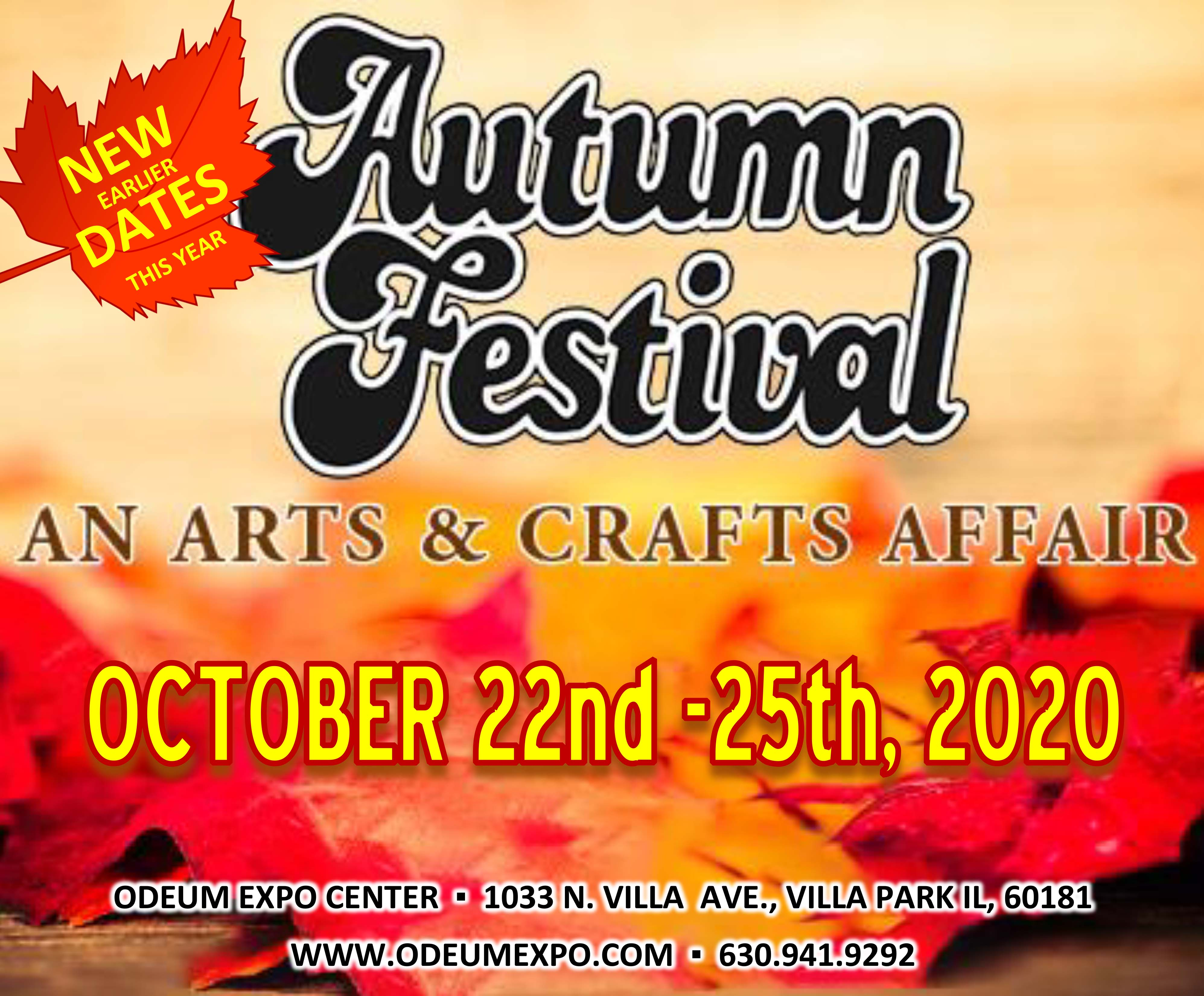 Logo for the annual Autumn Arts & Crafts Festival at the Odeum Expoe Center in Villa Park, Illinois arrives earlier than usual on October 22-25, 2020