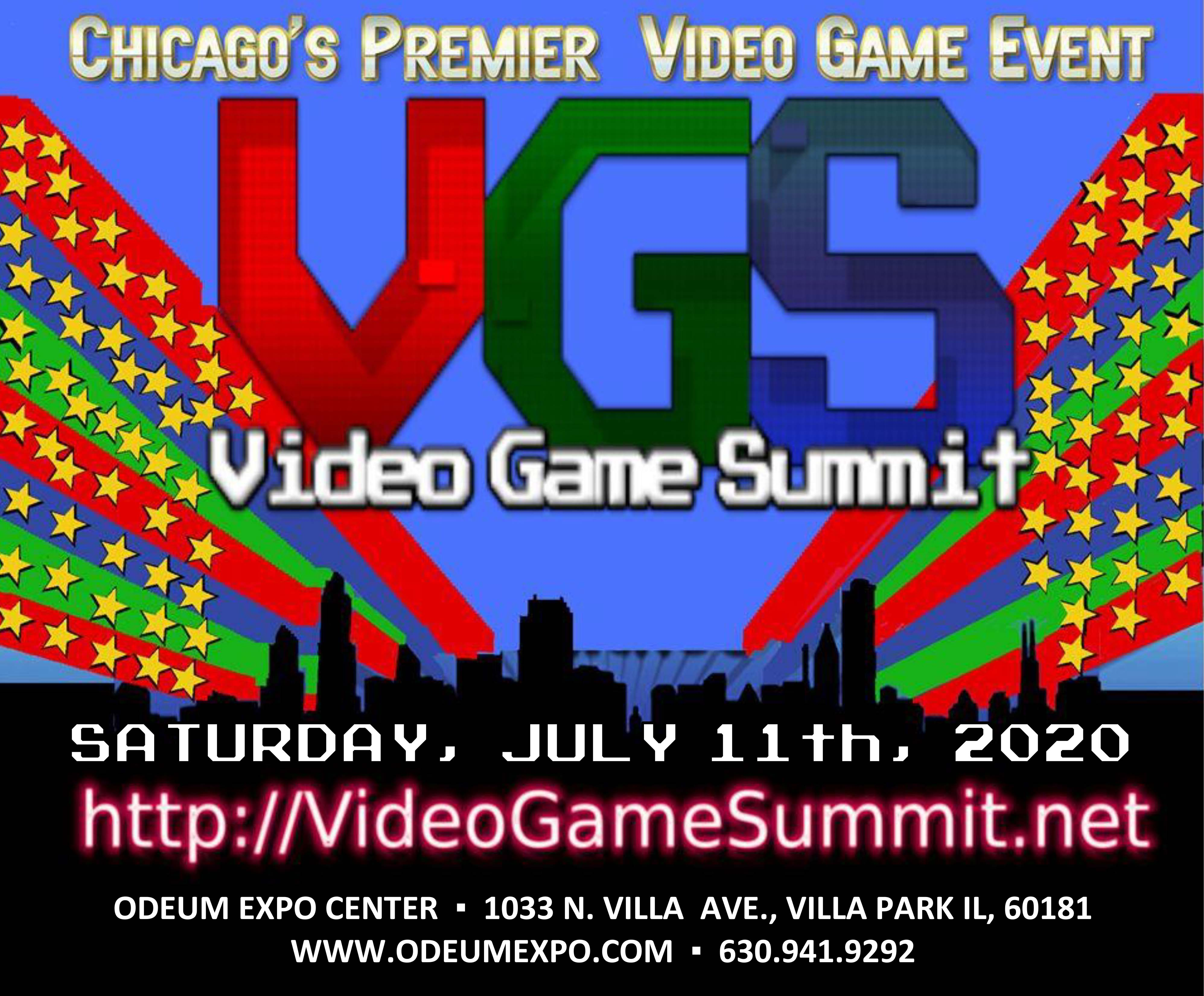 Logo for the Video Game Summit returning to the Odeum Expo Center in Villa Park, Illinois, on July 11, 2020