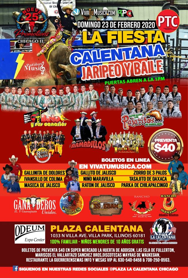 Poster for the La Fiest Calentana Jaripeo & Baile at the Odeum Expo Center in Villa Park, Illinois on February 23rd, 2020