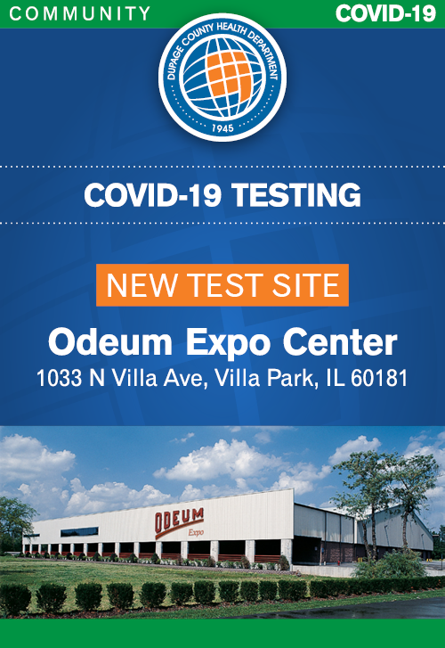Poster for DuPage County COVID-19 Testing Site at the Odeum Expo Center