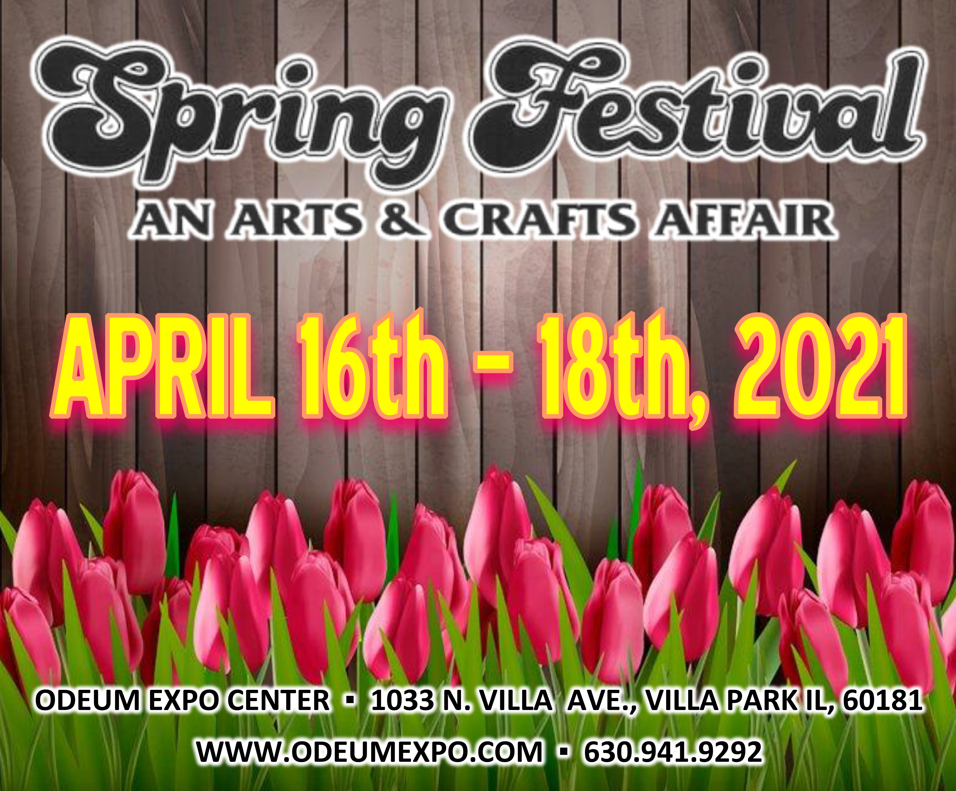 Logo for the Spring Arts and Crafts Festival April 16-18, 2021, at the Odeum Expo Center in Villa Park, Illinois