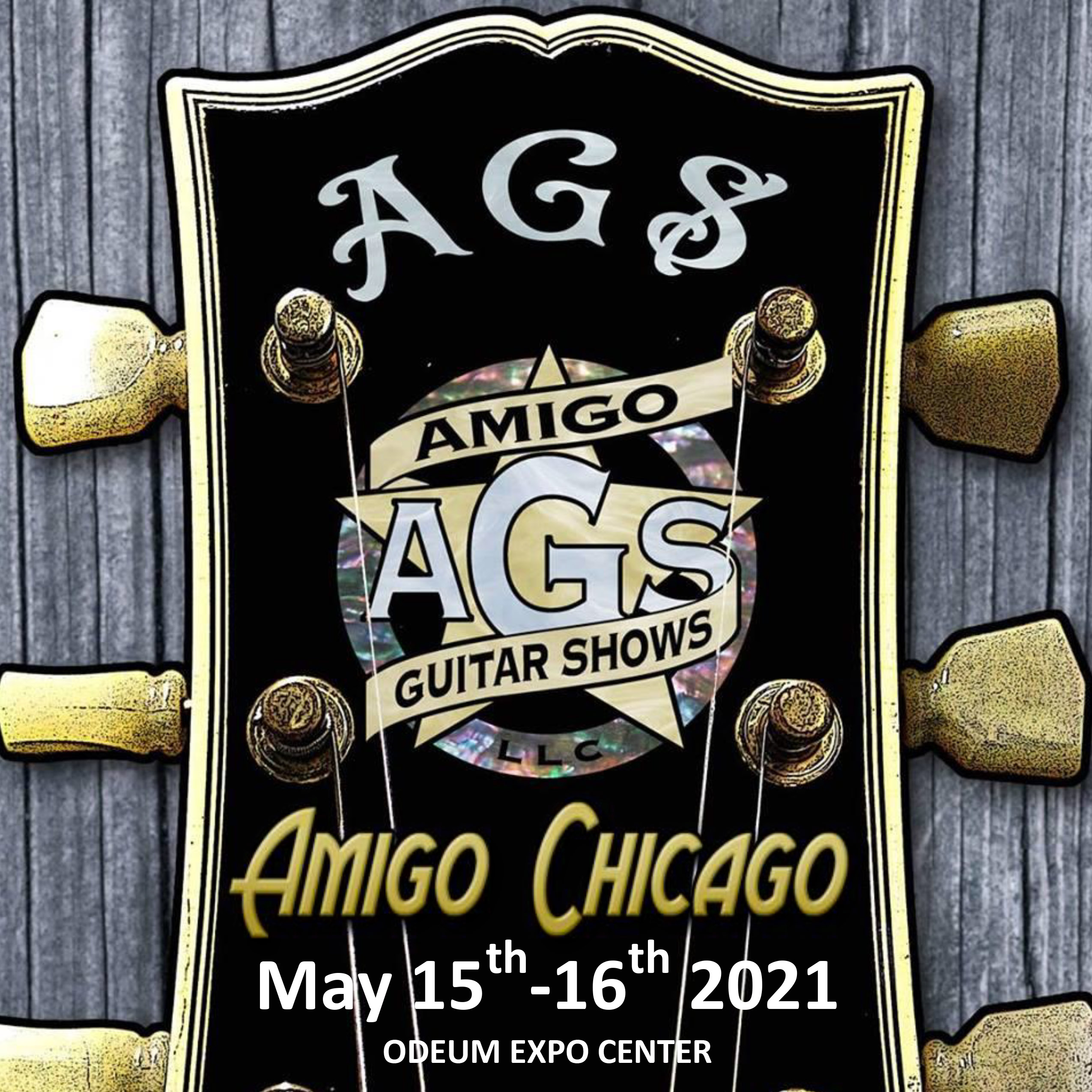 Logo for the Chicago Guitar Show May 15-16, 2021 at the Odeum Expo Center in Villa Park Illinois