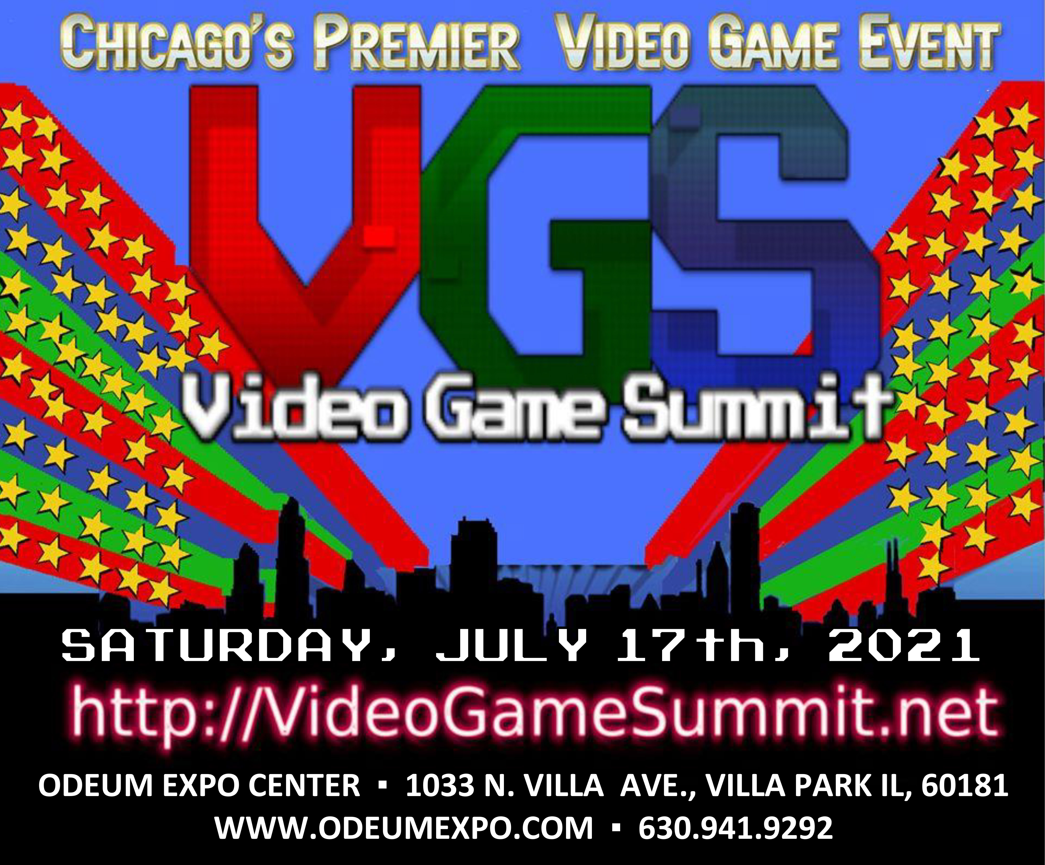Logo for the Chicago Video Game Summit on July 17, 2021 at the Odeum Expo Center in Villa Park Illinois