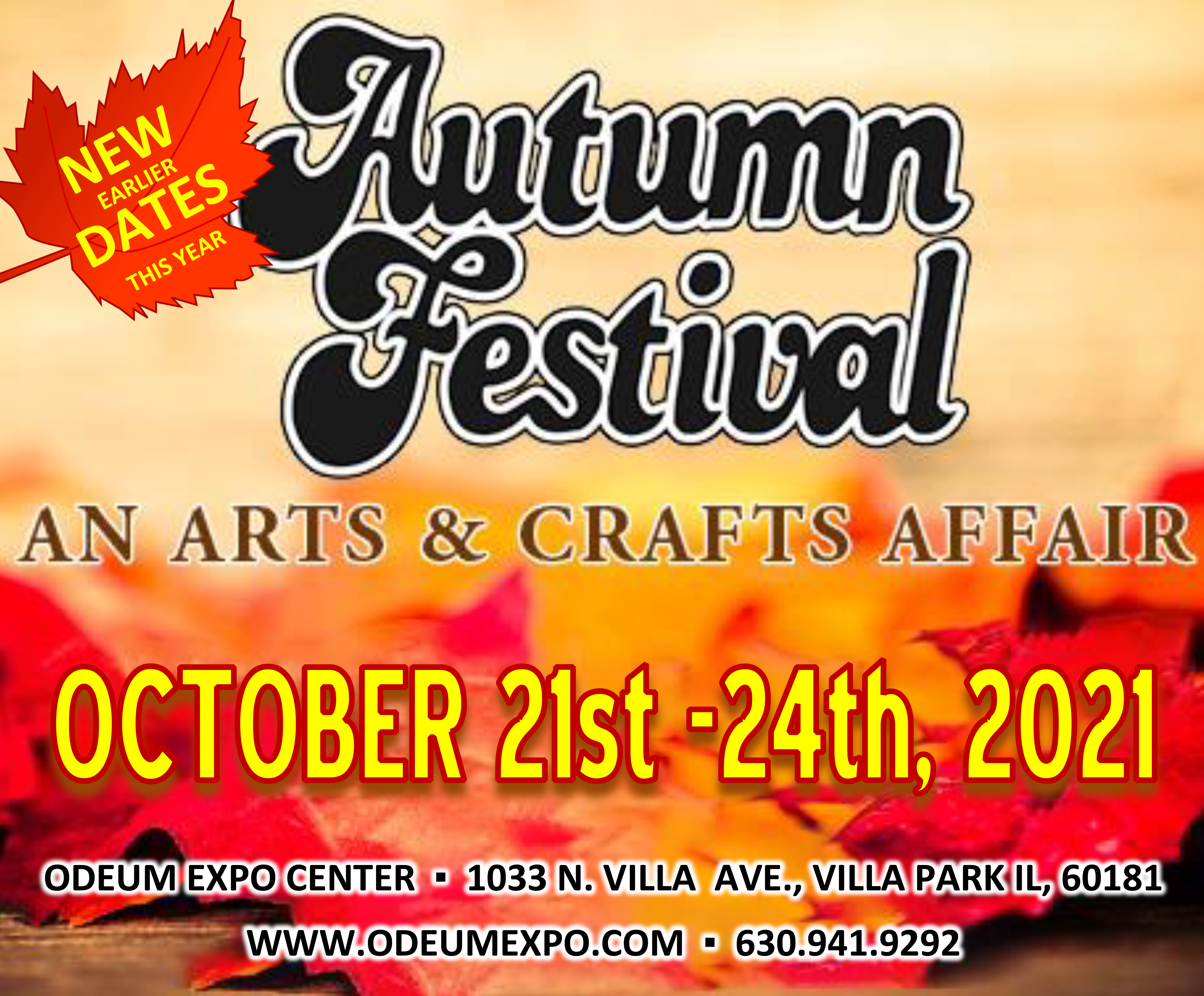 Logo for Autumn Festival An Arts & Crafts Affair returns to the Odeum Expo Center in Villa Park, Illinois, October 21-24, 2021