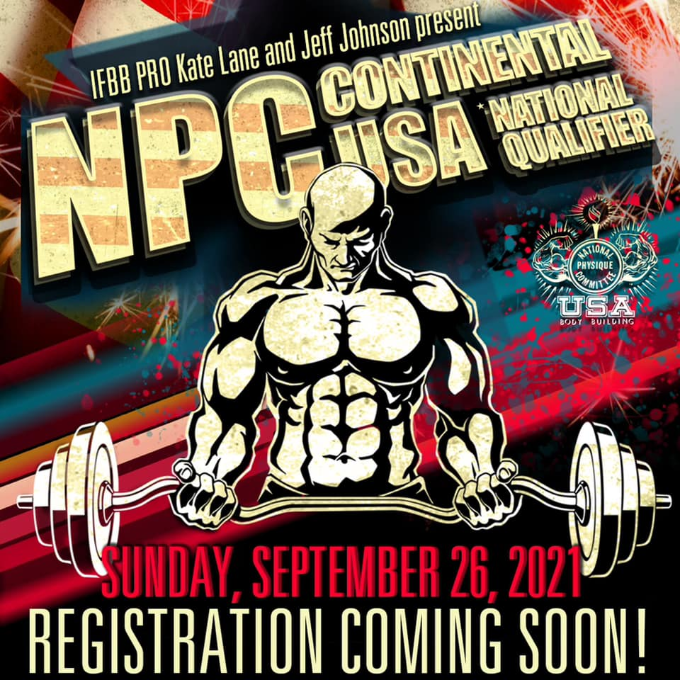 Announcement flyer for NPC Continental USA National Qualifier returns to the Odeum Expo Center in Villa Park, Illinois, on Sunday, September 26, 2021