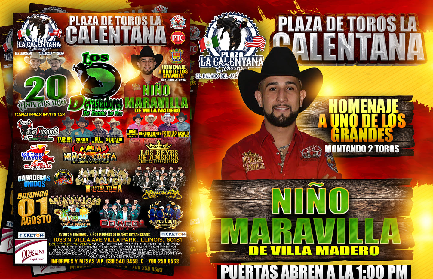 Poster for August 1, 2021, jaripeo rodeo at the Odeum Expo Center in Villa Park, Illinois