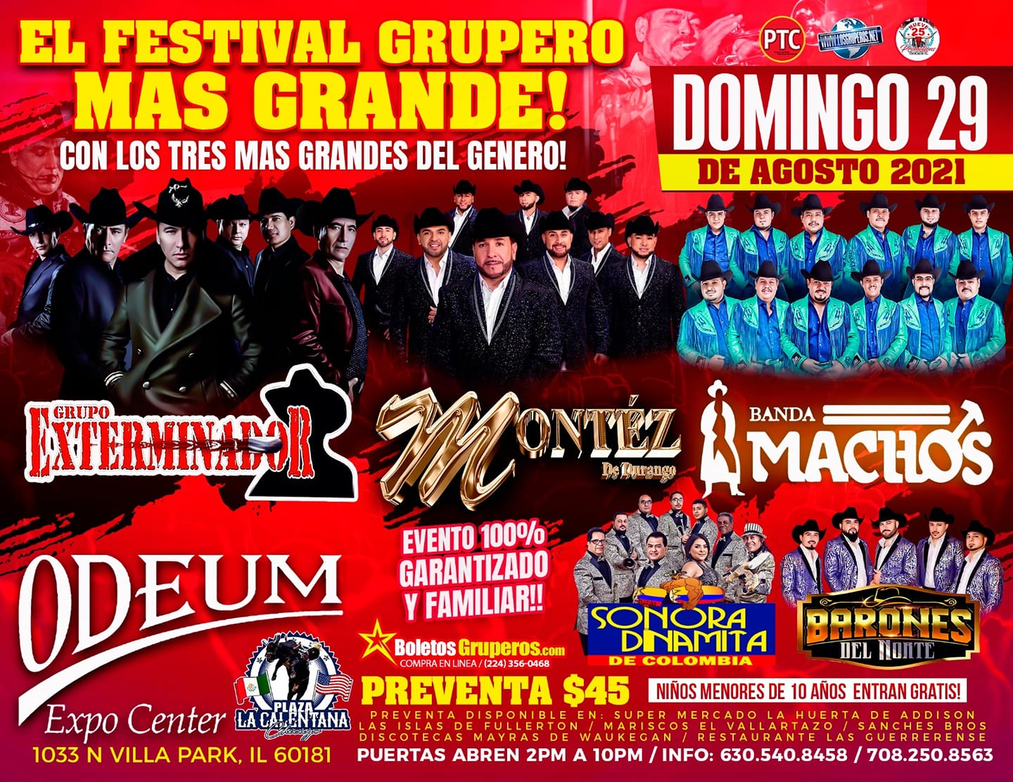 Poster for El Festival Grupero Mas Grande at the Odeum Expo Center in Villa Park, Illinois, on August 29, 2021