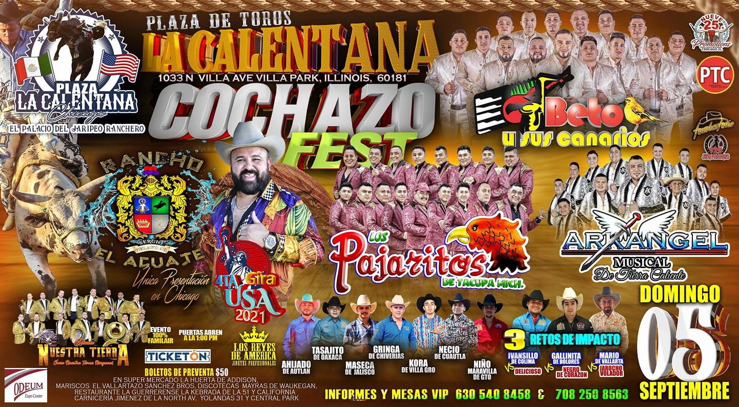Poster for Cochazo Fest at the Odeum Expo Center in Villa Park, Illinois on Sunday, September 5, 2021