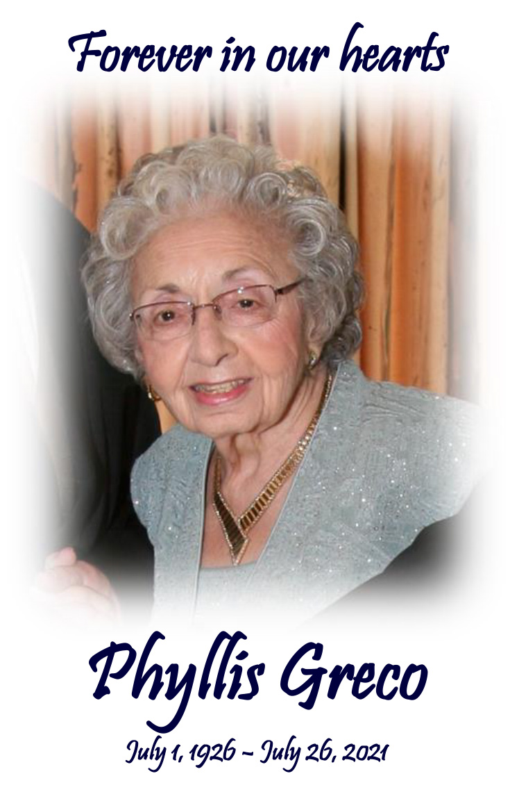 Memorial Card for Phyllis MG Greco, Matriarch of the Odeum Expo Center in Villa Park, Illinois